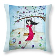 Swinging In A Tree Throw Pillow by Jo Ann