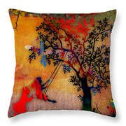 Swinging On A Tree Throw Pillow