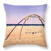 Swingset On Beach Throw Pillow