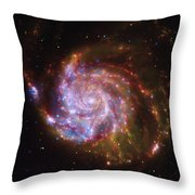 Swirling Red Galaxy Throw Pillow