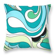 Swirls Blue Green Throw Pillow