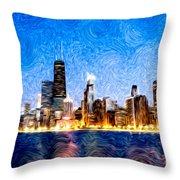 Swirly Chicago At Night Throw Pillow