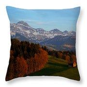 Swiss Alpine Scene Throw Pillow
