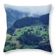Swiss Mountain Village Throw Pillow