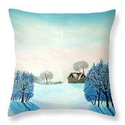 Swiss Opus Blue Christmas Throw Pillow