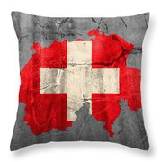 Switzerland Flag Country Outline Painted On Old Cracked Cement Throw Pillow