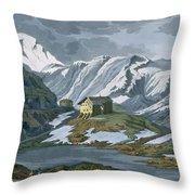 Switzerland Hospice Of St. Bernard Throw Pillow by Italian School