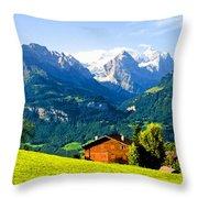Switzerland Oil On Canvas Throw Pillow
