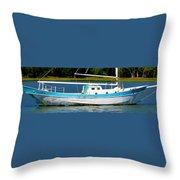 Swordfish Boat Pano Throw Pillow