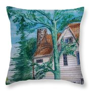 Sycamore Tree Lllustration Throw Pillow