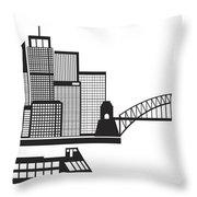 Sydney Australia Skyline Black And White Illustration Throw Pillow