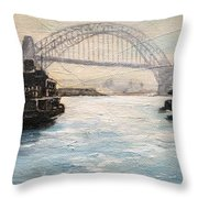 Sydney Ferry Wharves 1950's Throw Pillow