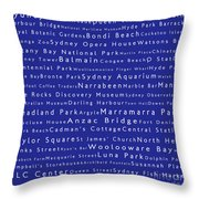 Sydney In Words Blue Throw Pillow