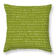 Sydney In Words Olive Throw Pillow