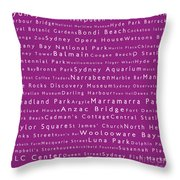 Sydney In Words Pink Throw Pillow