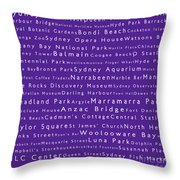 Sydney In Words Purple Throw Pillow