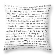 Sydney In Words White Throw Pillow