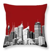 Sydney Skyline 1 - Dark Red Throw Pillow