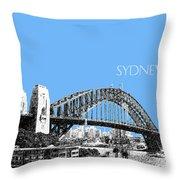 Sydney Skyline 2 Harbor Bridge - Light Blue Throw Pillow