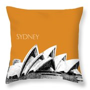 Sydney Skyline 3  Opera House - Dark Orange Throw Pillow