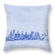 Sydney Skyline Blueprint Throw Pillow