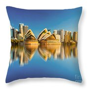 Sydney Skyline With Reflection Throw Pillow