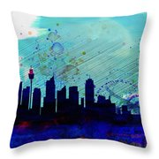 Sydney Watercolor Skyline Throw Pillow