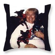 Sylver Short With Her Miniature Pinschers Christmas 2002-2008 Throw Pillow