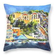 Symi Harbor The Grecian Isle  Throw Pillow by Carol Wisniewski