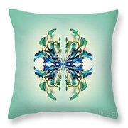 Symmetrical Orchid Art - Blues And Greens Throw Pillow
