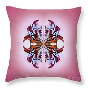 Symmetrical Orchid Art - Reds Throw Pillow