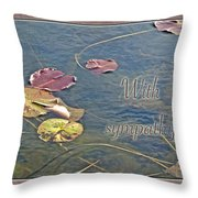 Sympathy Greeting Card - Autumn Lily Pads Throw Pillow