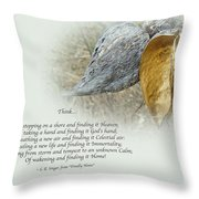 Sympathy Greeting Card - Poem And Milkweed Pods Throw Pillow