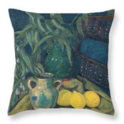 Synchrony In Green Throw Pillow