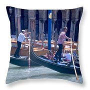 Syncronized Gondoliers Throw Pillow