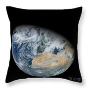 Synthesized View Of Earth Showing North Throw Pillow