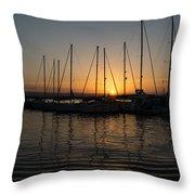 Syracuse Harbor Sunset Throw Pillow