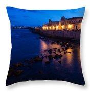 Syracuse Sicily Blue Hour - Ortygia Evening Mood Throw Pillow