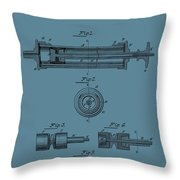 Syringe Patent Drawing Blue Throw Pillow
