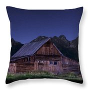 T. A. Moulton Homestead Barn At Night Throw Pillow