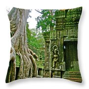 Ta Prohm And Tree Invasion In Angkor Wat Archeologial Park Near Siem Reap-cambodia Throw Pillow