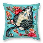 Tabby Cat On A Cushion Throw Pillow