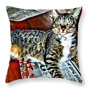 Tabby Cat On Newspaper - Catching Up On The News Throw Pillow