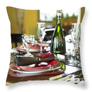 Table Setting With Red And White Throw Pillow