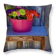 Table Top Flowers Throw Pillow