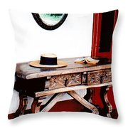 Table With Hat And Book Throw Pillow