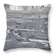 Tabular Icebergs Among Broken Fast Ice Throw Pillow