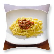 Tagliatelle Bolognese Sauce Throw Pillow