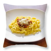 Tagliatelle Bolognese Sauce With Parmesan Throw Pillow