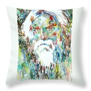 Tagore Watercolor Portrait Throw Pillow